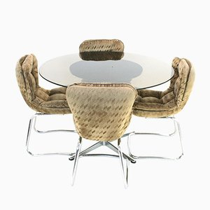 Vintage Chrome and Smoked Glass Dining Table and Chairs Set, 1970s