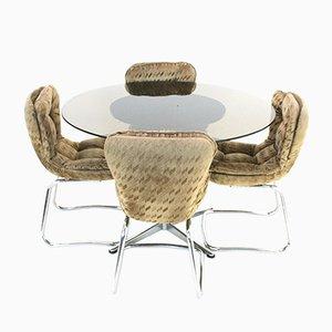 Vintage Esstisch & Stühle Set aus Chrom & Rauchglas, 1970er