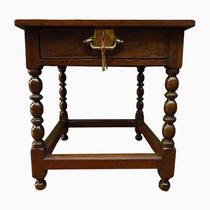 Antique Oak and Brass Side Table