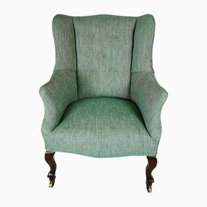 Antique Edwardian Green Walnut Wingback Armchair