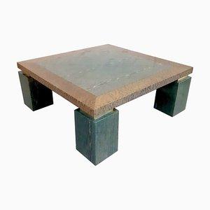 Mesa de centro de madera exótica y nudo de malaquita, años 70