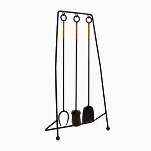Kaminwerkzeuge aus Schmiedeeisen & Rattan, 1960er, 4er Set