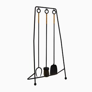 Wrought Iron and Rattan Fireplace Tools, 1960s, Set of 4