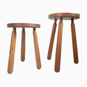Oak Stools, 1950s, Set of 2