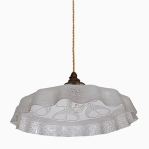 Antique Etched Frosted Frill Ceiling Lamp