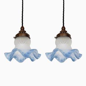Kleine Vintage Deckenlampen aus Milchglas mit Kragenschirm, 2er Set