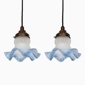 Small Vintage Frosted Frill Ceiling Lamps, Set of 2