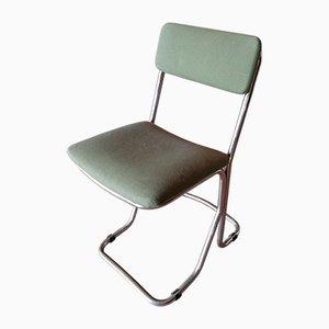 Silla de escritorio italiana de acero cromado, años 60
