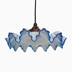 French Pale Blue Frill Glass Ceiling Lamp, 1930s