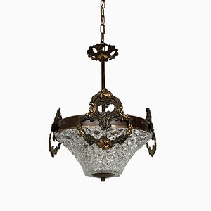 Heavy Cast Ornate Brass Pendant Lamp, 1930s