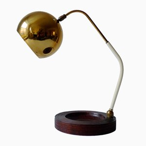 Mid-Century Italian Brass and Burl Wood Table Lamp, 1950s
