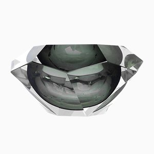 Italienische Diamond Glasvase von Flavio Poli für Seguso, 1970er