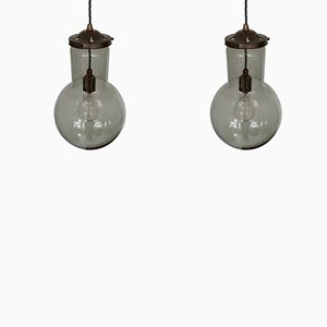 Gray Glass Pendant Lamps, 1950s, Set of 2