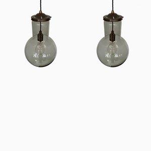 Graue Hängelampen aus Glas, 1950er, 2er Set
