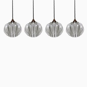 Deckenlampen aus dickem Klarglas, 1950er, 2er Set