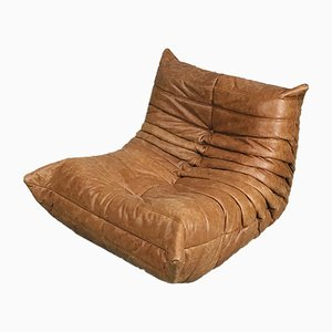 Vintage Cognac Leather Togo Lounge Chair by Michel Ducaroy for Ligne Roset