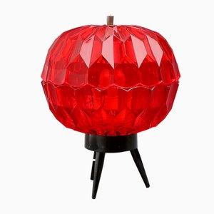 Rote Atomic Tischlampe aus Kunststoff, 1950er