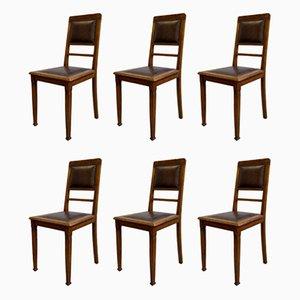 Antike Esszimmerstühle aus Leder & Eiche, 6er Set