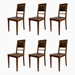 Antique Leather and Oak Dining Chairs, Set of 6