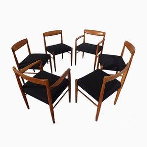 Sillas de comedor danesas de teca de H. W. Klein para Bramin, años 60. Juego de 6