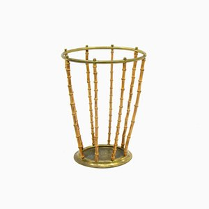 Brass and Bamboo Umbrella Stand, 1960s