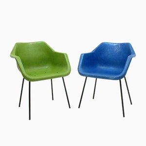 Beistellstühle mit Schalen aus Glasfaser, 1960er, 2er Set