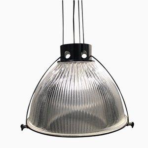 Lámpara de techo industrial grande de vidrio de Holophane, años 90