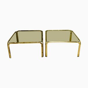 Smoked Glass and Brass Side Tables, 1970s, Set of 2