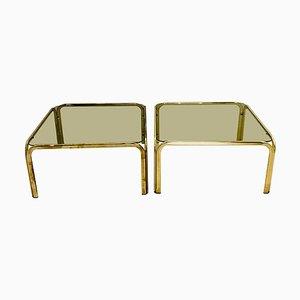 Tavolini in vetro fumé e ottone, anni '70, set di 2