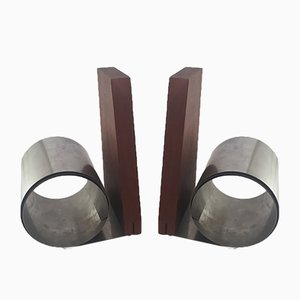 Vintage Rosewood and Steel Bookends, 1960s, Set of 2