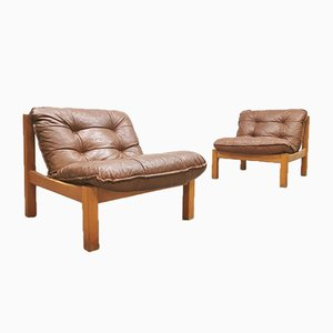 Vintage Leather Safari Lounge Chairs, 1970s, Set of 2