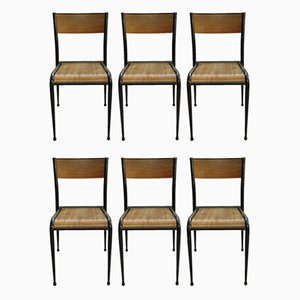 Schwarze Schulstühle von Mullca, 1960er, 6er Set