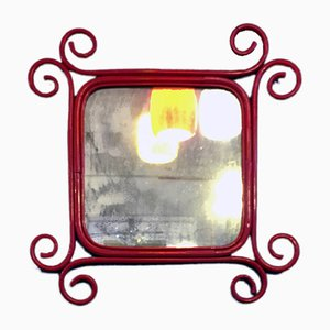 Italienischer Spiegel mit Rahmen aus rot emailliertem Rattan von Franco Albini für Pierantonio Bonacina, 1960er