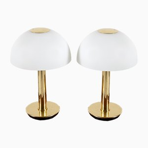 Brass and Opaline Glass Table Lamps from Limburg, 1970s, Set of 2