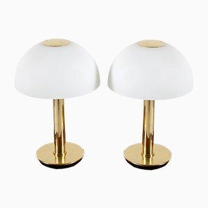 Tischlampen aus Messing & Opalglas von Limburg, 1970er, 2er Set