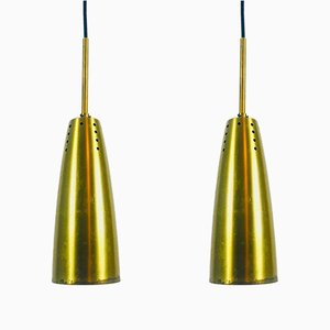 Mid-Century German Brass Pendant Lamps, 1950s, Set of 2