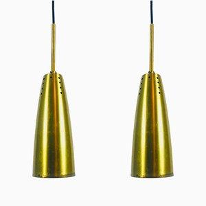 Mid-Century German Brass Pendant Lamps, 1950s, Set of 2