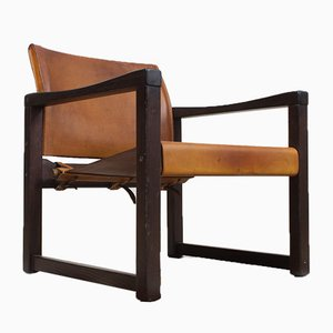 Dark Pinewood and Leather Safari Armchair by Karin Mobring, 1970s
