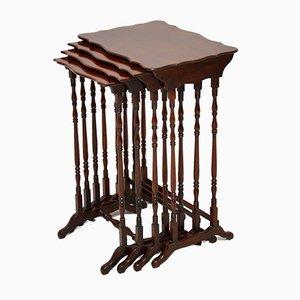 Tables Gigognes Antiques en Acajou, Set de 4