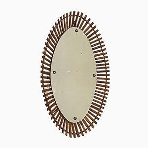 Italian Rattan Oval Mirror, 1960s