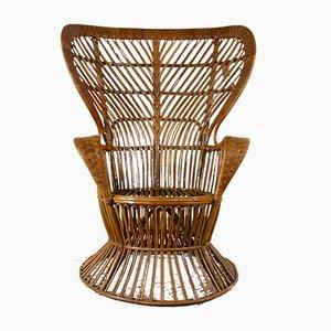 Mid-Century Italian Rattan Lounge Chair by Lio Carminati for Vittorio Bonacina