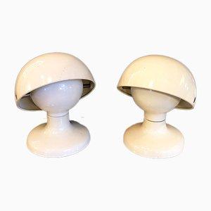 Lámparas de mesa italianas de metal blanco de Tobia & Afra Scarpa para Flos, 1963. Juego de 2