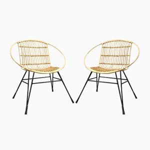 Mid-Century Metal and Rattan Lounge Chairs, Set of 2