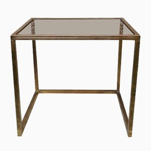 Italian Brass and Smoked Glass Square Console Table, 1960s