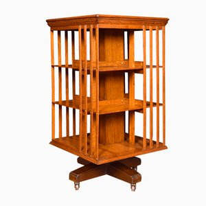 Antique Oak 3-Tier Revolving Cabinet