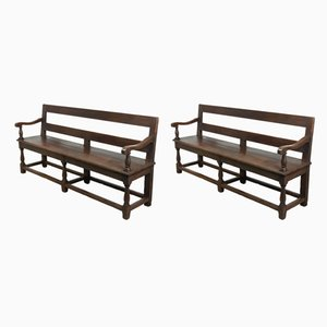 19th Century French Oak Benches, Set of 2