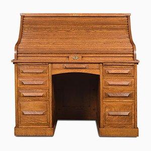 Antique Oak Pedestal Desk and Chair Set from Abner Cutler & Son