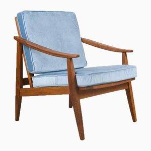 Mid-Century Stuhl mit Gestell aus Nussholz & Samtbezug, 1950er