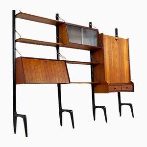 Unidad de pared modular Mid-Century de teca de Louis van Teeffelen para WéBé, años 50