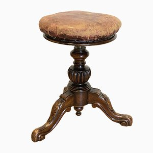 Antique Victorian Walnut Piano Stool